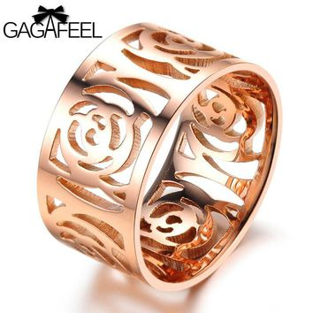 GAGAFEEL Flower Ring Women Luxury Stainless Steel Jewelry Genuine Rose Gold Color Hollow Finger Satellite Flowers Accessories