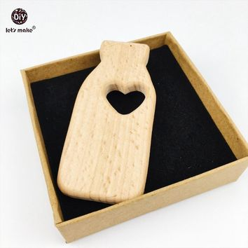 Let's make 10pcs Wooden Teether Unfinished Beech Milk Bottle DIY Bracelets Made Accessories Teething Teething Necklace Charms