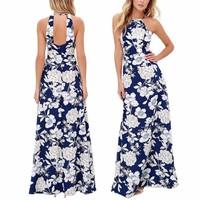 Women's Royal Blue White Floral Print Summer Sleeveless Maxi Dress
