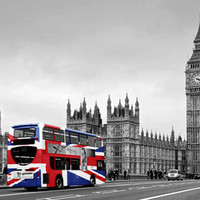Red London Bus and Union Jack Flag Art Print by Alice Gosling