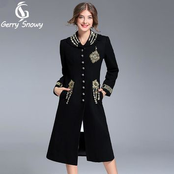 Long coat 2017 Autumn winter new Black Coat beads embroidered Black Manteau femmes Wool coat Free Shipping Size S-3XL
