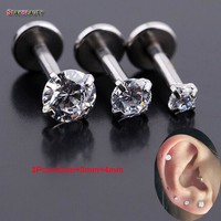 3Pcs(2mm/3mm/4mm) 16Gx6mm White Zircon Gem Bar Lip Piercing 16 Gauge Fake Lip Piercing Earrings Rings Jewelry Women Men