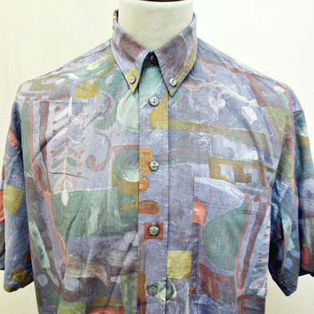 Vintage 1990s Shirt AMAZING Hipster Crazy Print Funk Soul Pattern Large