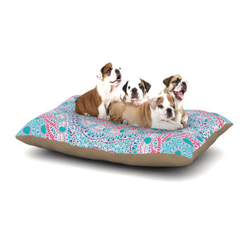 "Miranda Mol ""Prismatic White"" Blue Pink Abstract Dog Bed"