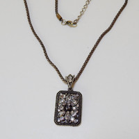 Vintage Victorian Style Silver and Rhinestone Necklace