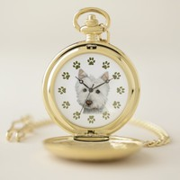 Westie Dog Art and Paws Gold Pocket Watch