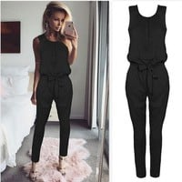 Black Jumpsuit with Waist Strings