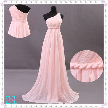 Bohemia Long Chiffon Dresses, Pink Chiffon Dresses, Long Bridesmaid Dresses, Pink Evening Dresses, Sexy One Shoulder Prom Dresses