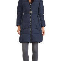 ADD Down Coat with Fur Hood in Navy
