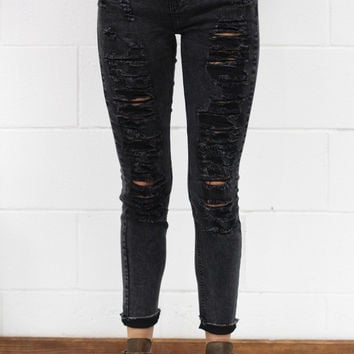 Distressed Washed Denim Jeans w/ Raw Hem {Black}