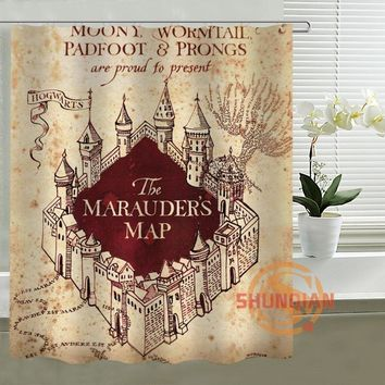 Harry Potter Map Custom Shower Curtain Made Personalized Waterproof Bathroom Products Curtains