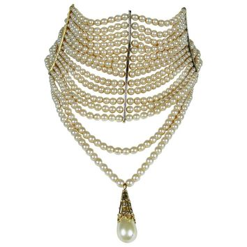 Christian Dior Iconic Multi Strand Edwardian Inspired Pearl Choker Necklace