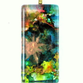 Unique Original Art Rectangular Ink Pendant. Blue, Sunburst One Of A Kind Glass Ink Pendant.  Beautiful Gift for Any Occasion.