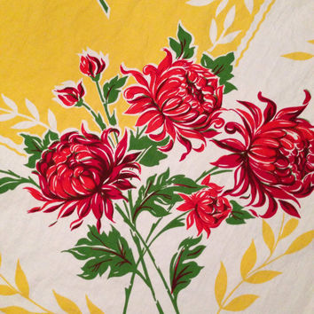 Mum Flower Square Tablecloth Yellow and Red- Vintage 1950's
