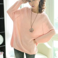 Loose Bat Sleeve Hollow Sweater