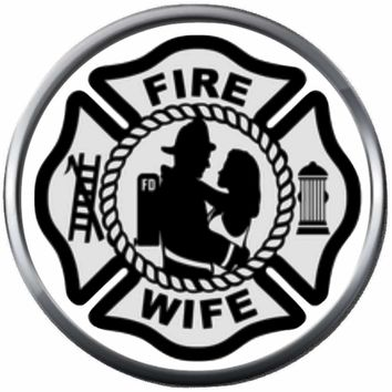 Maltese Cross Firefighter Man And Wife Thin Red Line Courage Under Fire 18MM-20MM Snap Charm Jewelry New Item