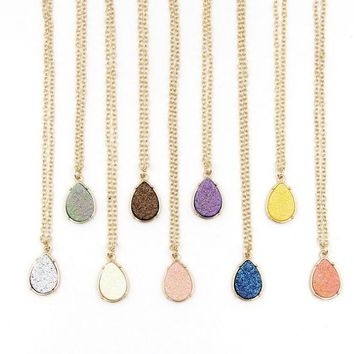 Fashion Jewelry Long Waterdrop Druzy Necklace Pendants Many colors Available