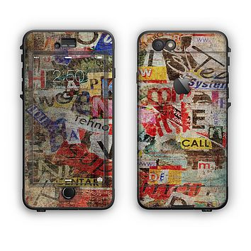 The Torn Newspaper Letter Collage V2 Apple iPhone 6 LifeProof Nuud Case Skin Set