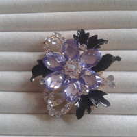 black and purple  crystal flower rhinestone goldtone  brooch  pin