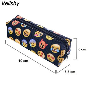 Velishy 1PC High quality New Fashion Emoji Pencil Pen Polyster Case Pencil Cases Cosmetic Makeup Tool Bag Storage Pouch