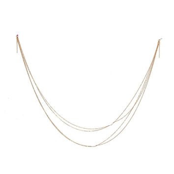 Gold Double Layers Pearl Cross Body Chain Necklace
