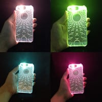 Case For Apple Iphone 6 6s LED Sense Flash Up Light Transparent Shinning Colorful Phone Glitter Mobile Phone Cover