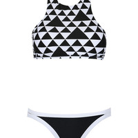 Monochrome Triangle Print Halter Cut Away Bikini Top And Bottom