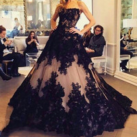 New Arrival Black Long Ball Gown Prom Dresses 2016 Strapless vestido de festa Appliques Sweep Train Formal Dress M637