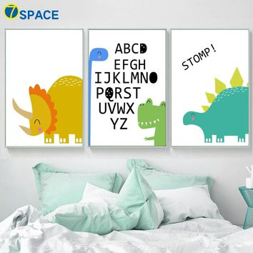 Alphabet Dinosaur Crocodile Wall Art Canvas Painting Nordic Posters And Prints Nursery Wall Pictures Baby Girl Boy Room Decor