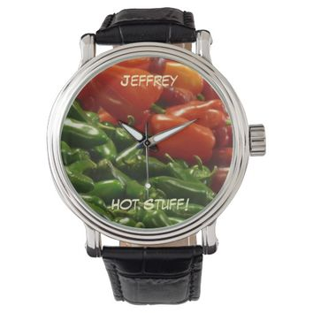 Hot Stuff Wrist Watch, Peppers, Chilies Wristwatch