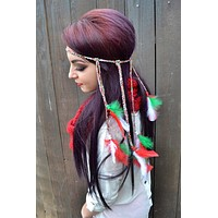 Red, White & Green Feather Headband #B1009