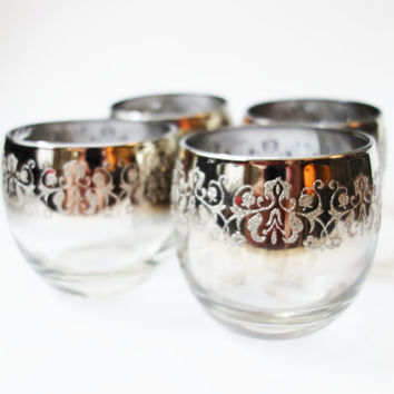 Mid Century Roly Poly glasses, Barware, Mad Men,  Silver, Embossed Glass, Ornate, Ombre, Burnout, Gift, 1950s, Drink glasses, Brandy glasses