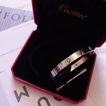 CARTIER 18k White Gold 4 DIAMOND LOVE BRACELET AUTHENTIC WITH NEW SCREW SIZE 19