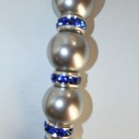 Swarovski Gray Pearls with Sapphire Blue Crystal Bead Bracelet
