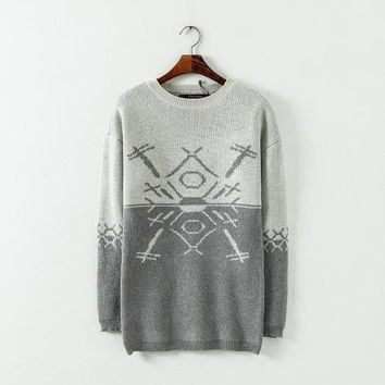 Casual Geometric Pattern Pattern Long Sleeve Color Block Sweater