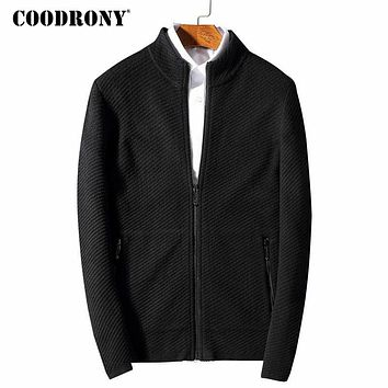 Sweater Coat Men New Winter Thick Warm Wool Cardigan Knitted Cashmere Cardigans With Zipper Pockets