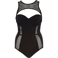 River Island Womens Black Pacha fishnet insert cut out swimsuit