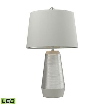 D2576-LED Etched Ceramic LED Table Lamp in Silver And White