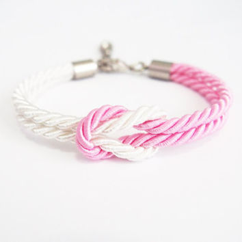 Pink nautical rope bracelet , nautical jewelry , bridesmaid gift , pink wedding , rope knot bracelet , knot bracelet , pink white