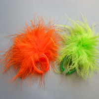 Retro 90s 1990s Raver Fuzzy Feather Neon Orange or Lime Green Electric Colors Plastic Ring, one size