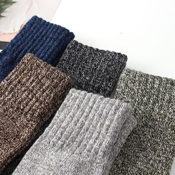 5 Pairs Men's Wool Blend Striped Socks