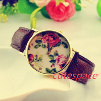 Floral Watch, Vintage Style Leather Watch, Women Watches, Unisex Watch, Brown Leather,Wrist Watch