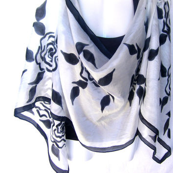 "Hand Painted Silk Scarf, Black Roses, Floral, Black White Silk Scarf, 71"" x 18"", Gift For Her"