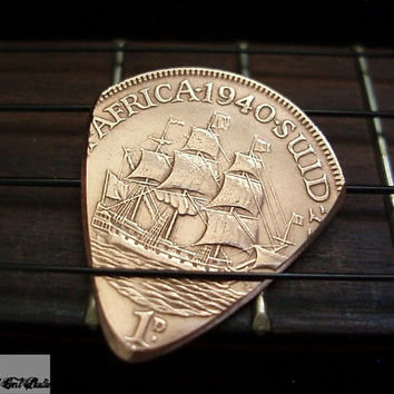Coin Guitar Pick -- 1940 South African Penny -- TheStretchedCentStudio