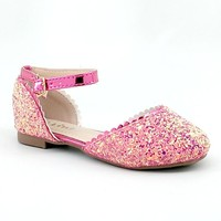 Girl's Fuchsia Glitter Open Flat with Ankle Strap