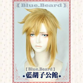 Link Golden Wig Cosplay the Legend of Zelda Cosplay Wig Hair Role Play Golden Color Halloween Role Play Hair + Wig Cap