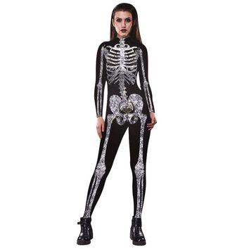 skull Costume 3D Shade Spandex Halloween Cosplay jumpsuit For women skeleton clothes for party 2017 new style