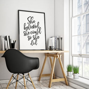 SHE BELIEVED SHE Could So She Did,Printable Art,Girls Room Decor,Gift For Her,Girls Bedroom Art,Quote Print,Nursery Baby Print,Wall Art
