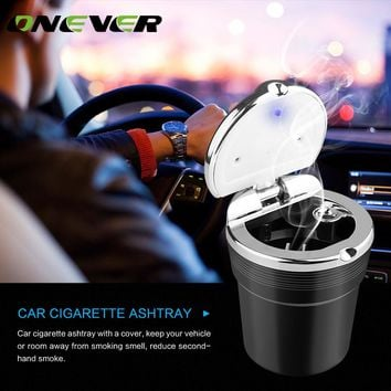 Onever Car Truck Auto Office Blue LED Light Cigarette Ashtray Cylinder Cup Holder Portable Auto Car Smokeless Stand with Cover
