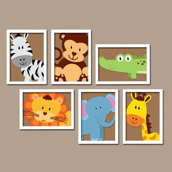Jungle Animal Elephant Giraffe Alligator Zebra Lion Monkey Set Of 6 Prints Wall Art Gallery Baby